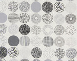 Simple Land OXFORD - Geometric Circles Natural Monotone from Cosmo Fabric