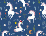 Mermaids and Unicorns - Unicorn Meadow Blue from In The Beginning Fabric