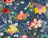 Mermaids and Unicorns - Floral Dark Blue Multi from In The Beginning Fabric
