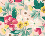 Fresh Meadow - Floral Meadow Light Coral by Melissa Lowry from Clothworks Fabric