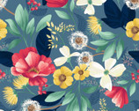 Fresh Meadow - Floral Meadow Blue by Melissa Lowry from Clothworks Fabric