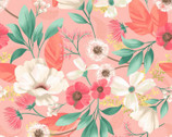 Fresh Meadow - Floral Meadow Coral by Melissa Lowry from Clothworks Fabric