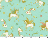Glitter Animal OXFORD - Unicorn Teal from Kokka Fabric