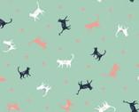 Urban Jungle - Cats Multi Seafoam by Vicky Yorke from Camelot Fabrics