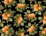 A Fruitful Life - Citrus Orange Black from Maywood Studio Fabric