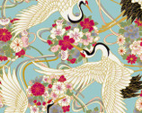 Japanese Spring SATIN SLUB Metallic - Birds Floral Blue from Cosmo Fabric