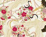 Japanese Spring SATIN SLUB Metallic - Birds Floral Cream from Cosmo Fabric