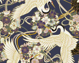 Japanese Spring SATIN SLUB Metallic - Birds Floral Dark Blue from Cosmo Fabric