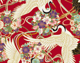 Japanese Spring SATIN SLUB Metallic - Birds Floral Red from Cosmo Fabric