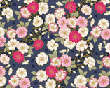 Japanese Spring SATIN SLUB Metallic - Flowers Dark Blue from Cosmo Fabric