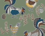 Scandinavian Woods XIX Linen OXFORD Chickens from Cosmo Fabric