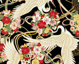 Japanese Spring SATIN SLUB Metallic - Birds Floral Black from Cosmo Fabric