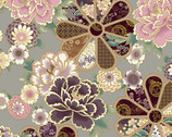 Karajishi Botan Metallic - Flowers Gray from Quilt Gate Fabric