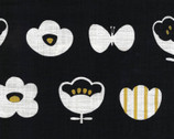 Simple Life CANVAS - Flower and Butterfly Metallic Black from Kokka Fabric