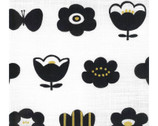 Simple Life CANVAS - Flower and Butterfly Metallic White from Kokka Fabric