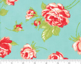 Smitten 54 Inch Lawns - Rose Toss Aqua by Bonnie and Camille from Moda Fabrics