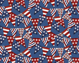 American Spirit - Pennant Flags Blue by Beth Albert from 3 Wishes Fabric