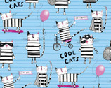 Cool Cat Club - Cats Activities Blue from 3 Wishes Fabric