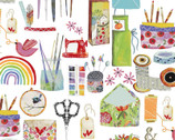 Create and Hobby - Hobbies Items White by Kate Mason from 3 Wishes Fabric