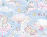 Unicorn Sparkle GLITTER - Clouds Moon Stars Blue from 3 Wishes Fabric