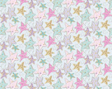 Unicorn Sparkle GLITTER - Stars Turquoise from 3 Wishes Fabric