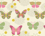 Bohemian Garden Butterflies Cream from Springs Creative Fabric