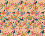 Magnolia Wonderland - Leave Branches Peach Pink by Teresa Chan from Paintbrush Studio Fabrics