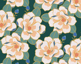 Magnolia Wonderland - Magnolia Flower Teal Green by Teresa Chan from Paintbrush Studio Fabrics