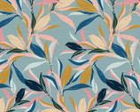 Magnolia Wonderland - Leave Branches Teal Blue  by Teresa Chan from Paintbrush Studio Fabrics