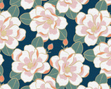 Magnolia Wonderland - Magnolia Flower Navy Blue by Teresa Chan from Paintbrush Studio Fabrics