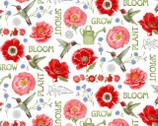 Poppy Meadow - Poppy Garden White by Jane Shasky from Henry Glass Fabric