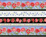 Poppy Meadow - Poppy Stripe Bloom by Jane Shasky from Henry Glass Fabric