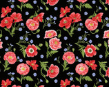 Poppy Meadow - Tossed Poppies Black by Jane Shasky from Henry Glass Fabric