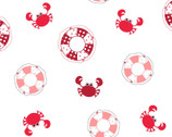 Vintage Boardwalk - Preservers and Crabs White by Kim Christopherson from Maywood Studio Fabric