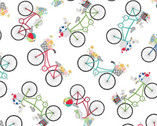 Vintage Boardwalk - Bicycles White by Kim Christopherson from Maywood Studio Fabric