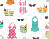 Vintage Boardwalk - Retro Swimsuits White by Kim Christopherson from Maywood Studio Fabric