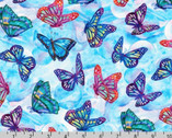 Morningmoon Unicorns - Butterfly Nature Blue by Jody Bergsma from Robert Kaufman Fabric