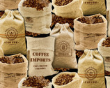 Fresh Brew Coffee - Coffee Beans Bags Black from Timeless Treasures Fabric