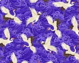 KOKO Metallic - Cranes Blue by Chong-A Hwang from Timeless Treasures Fabric