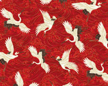KOKO Metallic - Cranes Red by Chong-A Hwang from Timeless Treasures Fabric