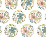 Wanderings - Bloom Circle White by Jina Barney and Lori Woods from Poppie Cotton Fabric