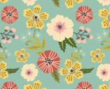 Prairie Sisters - Ruth Flowers Mint from Poppie Cotton Fabric