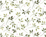 Wild Rose FLANNEL - Leaves Winter White by Marti Michell from Maywood Studio Fabric