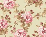Burgundy and Blush - Trailing Rose Soft Green from Maywood Studio Fabric