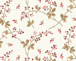 Burgundy and Blush - Berry Leaf Vine Cream from Maywood Studio Fabric