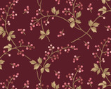 Burgundy and Blush - Berry Leaf Vine Red from Maywood Studio Fabric