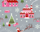 Christmas Glow - North Pole Gray Pink Glow In The Dark from Lewis and Irene Fabric