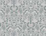 Winter In Bluebell Wood - Animal Floral Grey from Lewis and Irene Fabric