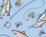 Cozy Cabin - Fish Fishing Blue by Kris Lammers from Maywood Studio Fabric