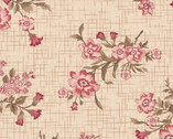 Tickled Pink - Floral Toss Vintage Cream from Henry Glass Fabric